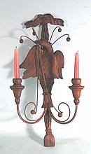 EARLY FOLK ART CARVED EAGLE WALL SCONCE: