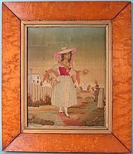 19TH C BOSTON NEEDLEPOINT PICTURE ON SILK: