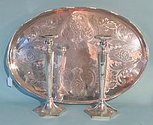 ENGLISH GEORGIAN STYLE SILVER PLATE GALLERIED TRAY: