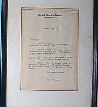 JOHN F. KENNEDY TYPED SIGNED LETTER:
