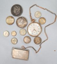 14KT ELGIN OPEN FACE POCKET WATCH, 14KT GOLD WATCH CHAIN, 11 SILVER COINS & ONE OUNCE SILVER BAR: