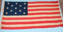 19TH C AMERICAN FLAG/13 STARS: