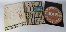 1965, 1966 & 1968 NEWPORT FOLK FESTIVAL PROGRAMS:
