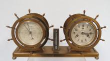 WATERBURY SHIP?S BELL CLOCK & BAROMETER: