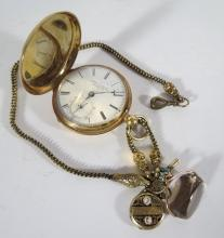 18KT GOLD JOSEPH FRENCH ROYAL EXCHANGE LIVERPOOL POCKET WATCH, CHAIN & FOB: