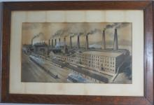 EARLY INDUSTRIAL OR FACTORY SCENE WATERCOLOR: