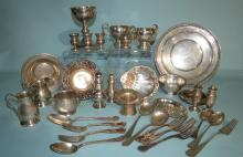 THIRTY FOUR PIECES OF STERLING SILVER HOLLOWARE & FLATWARE: