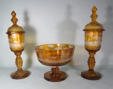 AMBER BOHEMIAN COVERED URNS & CENTER BOWL: