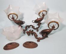 THREE VICTORIAN GAS WALL SCONCE FIXTURES: