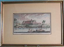 18TH C GUISEPPE VASI HAND COLORED ENGRAVING: