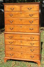 LATE 18TH C AMERICAN TIGER MAPLE CHEST ON CHEST: