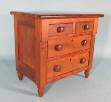 1840'S MINIATURE FOOTED FOUR DRAWER CHEST: