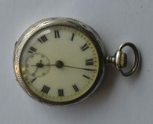 A small French silver engraved fob watch. Est. ?30