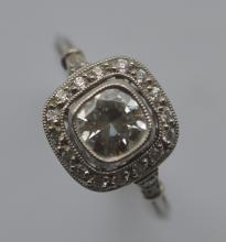 A good French diamond square cluster ring in plati