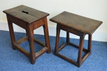 Two Antique oak country stools with stretcher base