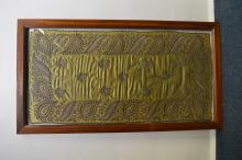 An Eastern framed embroidery in mahogany frame. Es