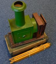 A good painted magic lantern and stand. Est. £30 -