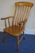 A good pine splat back Windsor chair on turned sup