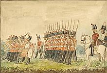 circa 1870: Drawing of County of Dublin Militia reviewed by their Colonel Lord Meath