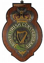 circa 1900: Royal Irish Constabulary barrack plaque