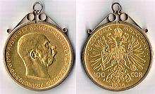 Austria 100 crowns gold 1915.