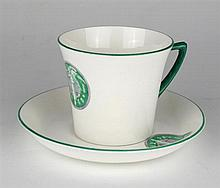 circa 1909: Women's Social and Political Union or 'suffragette' tea cup and saucer