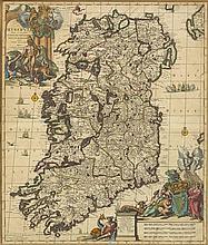 circa 1733: Carolus Allard map of Ireland 'Hyberniae Regni in Provincias...'