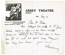 circa 1925: Handwritten and signed letter by Lady Augusta Gregory on Abbey Theatre headed notepaper
