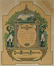 1906 (23 July) Irish National Foresters, St. Laurence O'Toole Branch, membership certificate