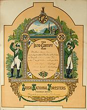 1924 (6 October) Irish National Foresters, St. Laurence O'Toole Branch, membership certificate