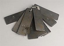 1980s: Long Kesh (The Maze Prison) H Block H4 Key tags  (12)