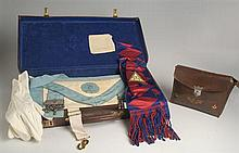 20th Century: Masonic collection including aprons, documents and cases