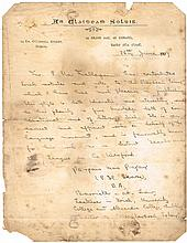 1907 (26 June) Pádraig Pearse handwritten and signed letter of recommendation on 'An Claidheamh Soluis' headed paper