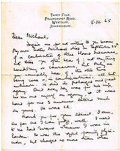 1965. Sarah Gertrude Millin: Handwritten and signed letter