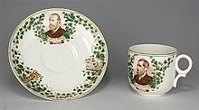 19th Century: Charles Stewart Parnell and John Dillon commemorative cup and saucer
