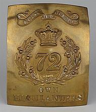 circa 1830-1850: 72nd Highlanders other ranks cross belt plate