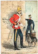 1869: 4th Royal (Irish) Dragoon Guards watercolour 'Billeted'