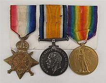 1914-1918: Royal Irish Rifles 1914-15 Star, British War Medal & Victory Medal