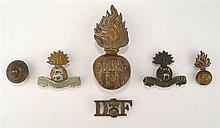 1900-1922: Royal Dublin Fusiliers badge collection including other ranks busby badge