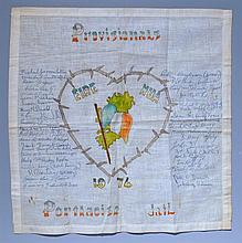 1974. Provisional IRA, Portlaoise Jail. Prisoner Artwork on Handkerchief