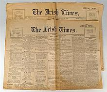 The Irish Times. The Irish Times Newspaper, Tuesday 25th April, 1916 Two Special Extra Issues of the Newspaper