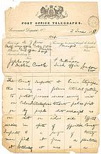 1881 (2 June) Dublin Castle telegram regarding Clare 'Land War' incident