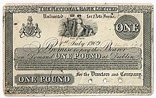 National Bank General Issue One Pound, 1st July 1909. Perkins Bacon proof on card.