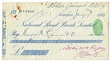 1922 Collection of cheques signed by leading officers of the National Army during the Civil War