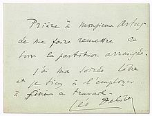 Leo Delibes (1836-1891), French composer, handwritten signed note.