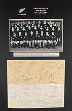 Rugby. 1978 New Zealand All Blacks touring team complete set of autographs. The team that Munster beat!