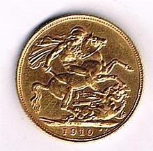 Edward VII gold sovereign 1910.