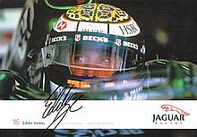 Formula One 2002 Jaguar Racing press pack with signed Eddie Irvine cards