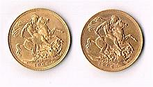 Edward VII gold sovereigns 1904 and 1907.