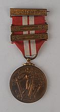 1939-46 Emergency Service Medal Defence Forces issue with two bars.